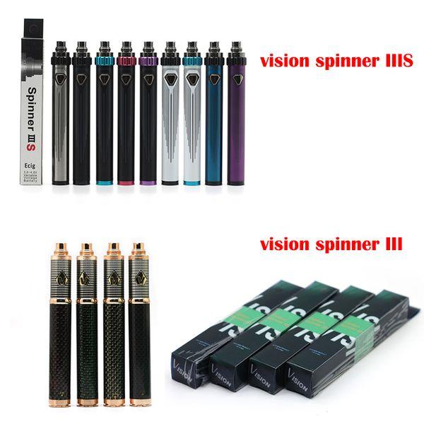Vision Spinner 3 Battery Carbon Fiber Vape Battery 1650mAh Adjustable Voltage E Cigarette Atomizer Tank 510 Battery