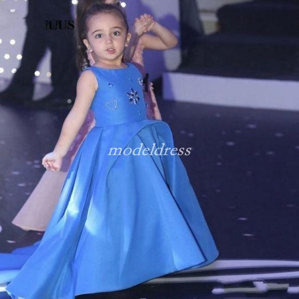 Gökyüzü Mavi Kızlar Pageant Elbiseler 2019 Jewel Sweep Tren Kristal Boncuk Çiçek Kız Elbise Çocuk Doğum Günü Partisi Törenlerinde Çocuklar Cosplay giymek