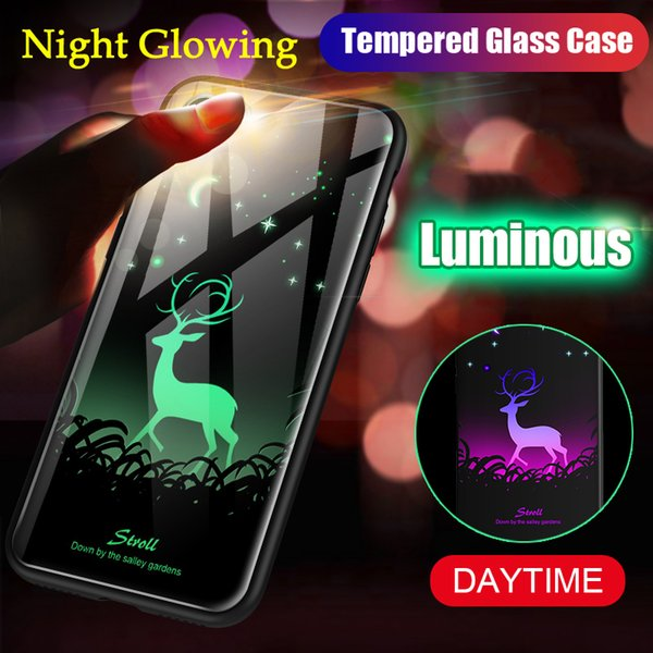 Night Glowing Luminous Phone Case For Samsung Galaxy S8 S9 Plus Note 8 9 Tempered Glass Back Cover Coque Have Logo Light up Capa