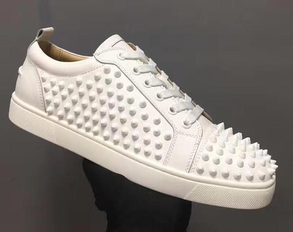 Erkek ve Kadınlar Deri Sneakers Parti Tasarımcı Ayakkabı 36-47 İçin Kutu Tasarımcı Spor Ayakkabılar ile 2019 Moda siyah beyaz deri ayakkabı Kırmızı Bottom