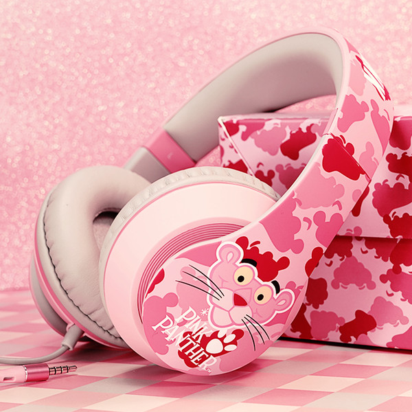 New mr.leaf the Pink Panther wired headset HIFI over ear sport headphone with Mic for iphone girl gift