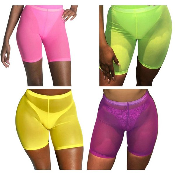 Womens High Waist Sexy Sheer Mesh Swim Shorts Bikini Bottom Cover Up Fluorescent Bright Color Lingerie Pants Swimsuit Clubwear