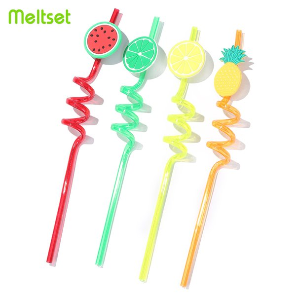4Pcs Fruit Cartoon Plastic Straws Watermelon Drinking Straw for Wedding Birthday Halloween Decoration Party Event Supplies