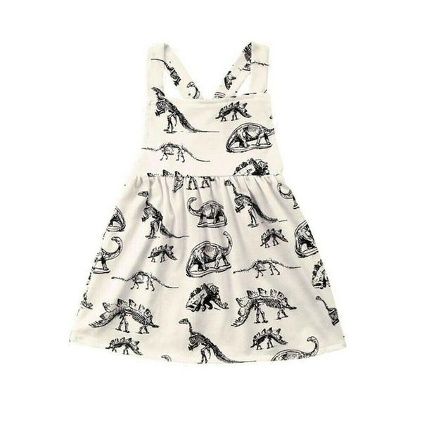 Vestidos de bebê menina traje dinossauro impressão vestido de verão sem mangas menina vestidos de festa e roupas de casamento meninas vestido