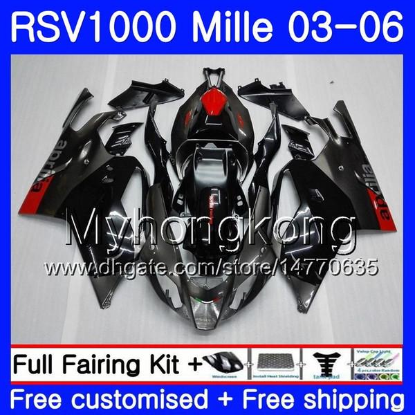 Body For Aprilia Black grey hot RSV 1000R 1000 RV60 Mille RSV1000 R RR 03 04 05 06 316HM.3 RSV1000RR RSV1000R 2003 2004 2005 2006 Fairings