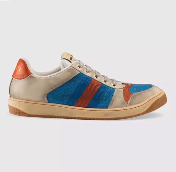 2019 New best quality designer sapatos homem tigre abelha azul listras vermelhas angustiado luxo sapatos de couro real moda ace sneaker para as mulheres 35-45
