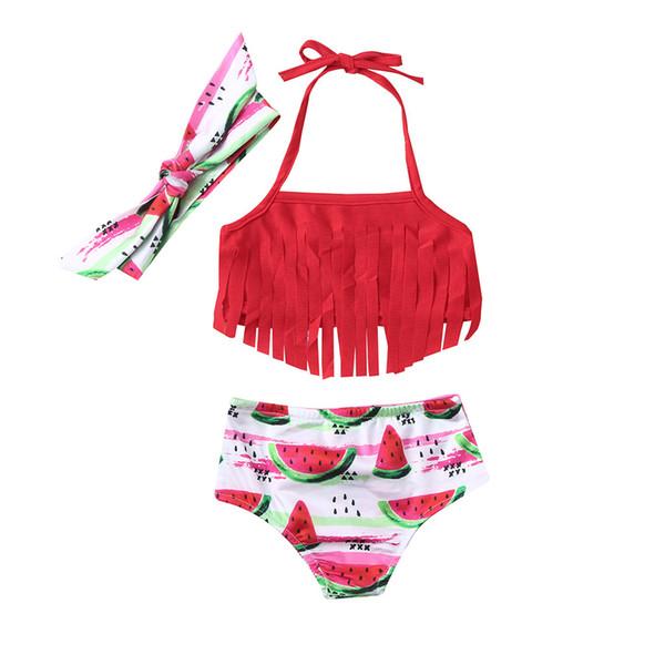 ARLONEET 2019 Nuevo traje de baño elástico con estampado de cabestro para niñas de verano dividido en dos piezas Traje de baño bikini de rayas para niños al por mayor