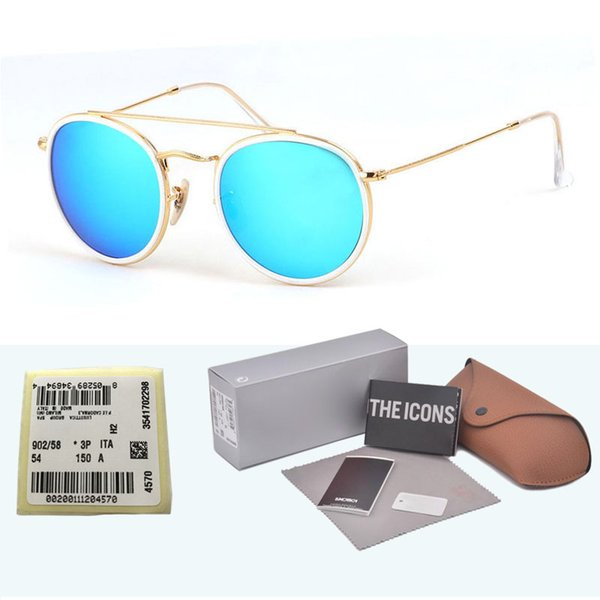 Brand Designer glass lens Round Sunglasses Men Women Steampunk Goggle Fashion Retro Vintage Sun glasses with free cases and box