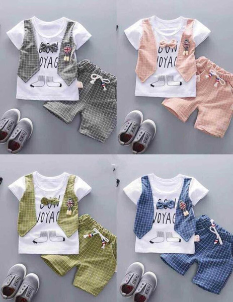 new Summer children's clothing Children Suit Boys Outfit bow tie three piece set casual pants Boy Suit Toddler Newborn Set Baby Wear