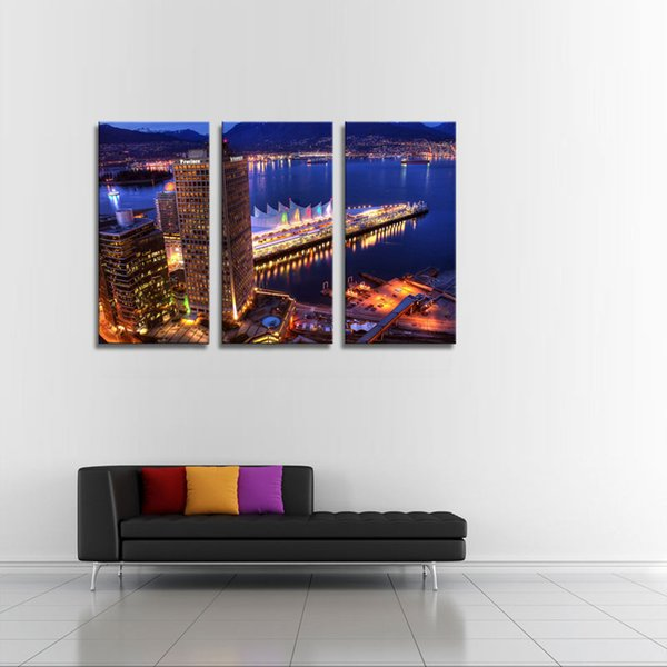 Unframed Canvas Wall Art Home Decoration 3 Panels City Night View Printed Painting Modular Pictures For Living Room Gifts