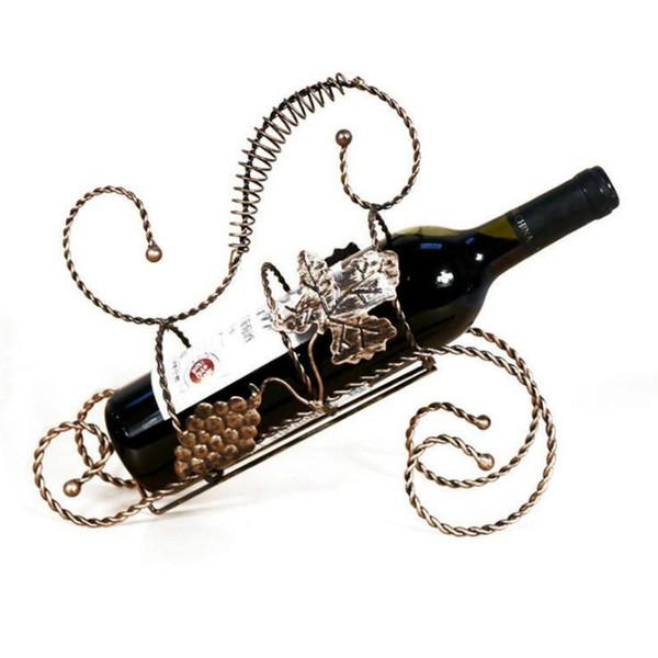 Hot Wine Rack Wine Holder Estante Metal Práctico Escultura soporte de vino Decoración Del Hogar Interior Artesanía Regalo de Navidad