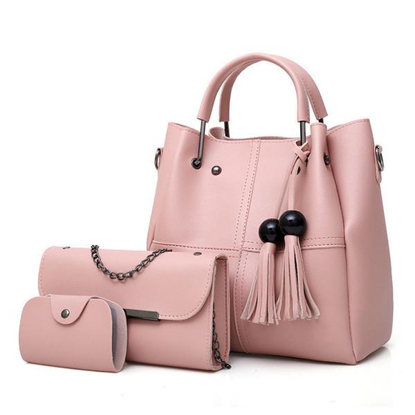 good quality 3 Pcs/set Pu Leather Women Handbags Ladies High Quality Casual Tote Female Large Capacity Tassel Shoulder Bag Bolsa
