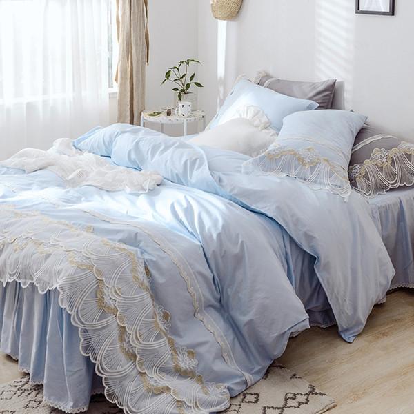 Blue Princess Lace Bedding Set King Queen Twin Size Girls Bed Set Solid  Soft Bed Sheet Duvet Cover Skirt Parure De Lit Queen Size Comforter Sets On  ...