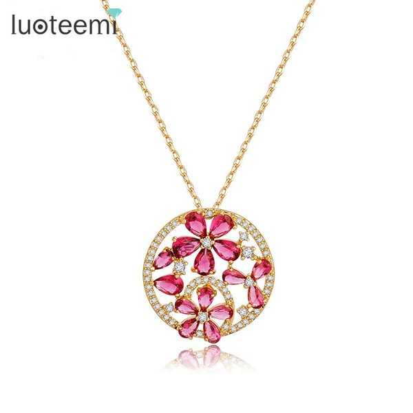 round pendant Luoteemi Newest Top Quality Tiny Cubic Zirconia Champagne Gold-Color Teardrop CZ Flower Round Pendant Necklaces For Women