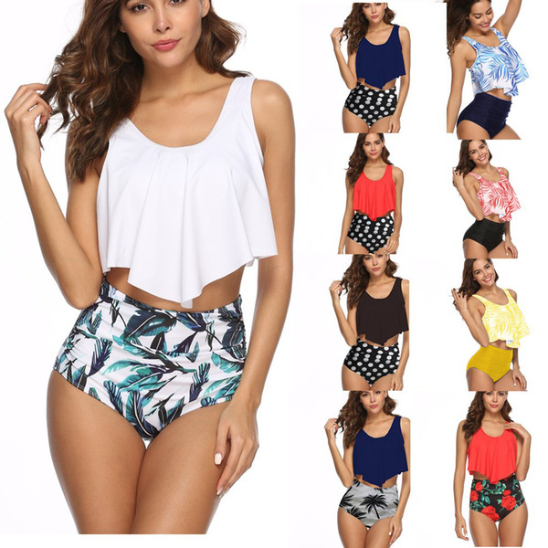 Hot Swimwear for women Leaf Dots Sports bikini Cover the belly Plus size swimsuit Back Strap Pleat Large size High Waist Stretchy Partysu