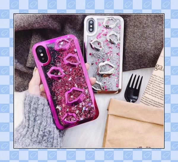 hot sale electroplate sexy lip cellphone case back cover for iphone x 6 7 8 plus samsung s8 s9 plus note 8