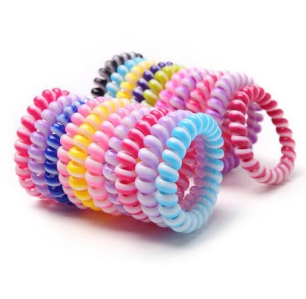 Telefon Tel Kordon Sakız Saç Kravat 6.5 cm Kızlar Elastik Saç Bandı Halka Halat Şeker Renk Bilezik Sıkı Toka