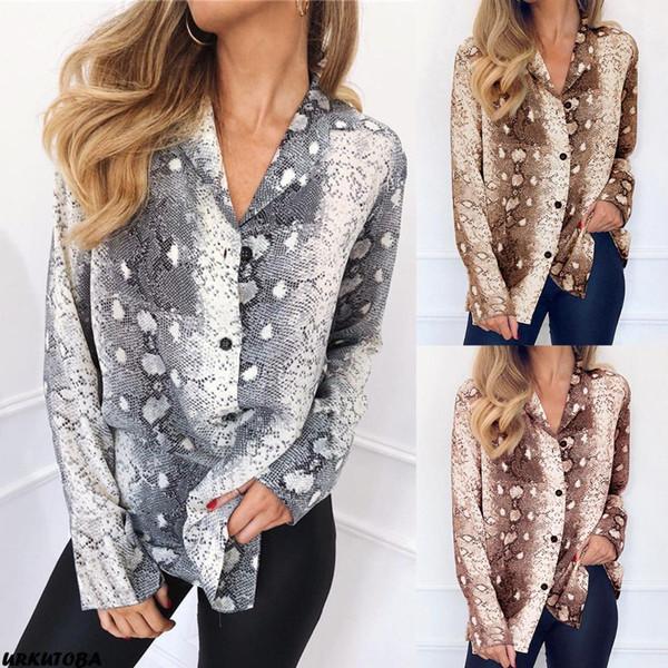 Spring Fashion Women Snake Print Top Casual Long Sleeve V-Neck Button Down Shirt Chiffon Casual Shirt Loose Blouse