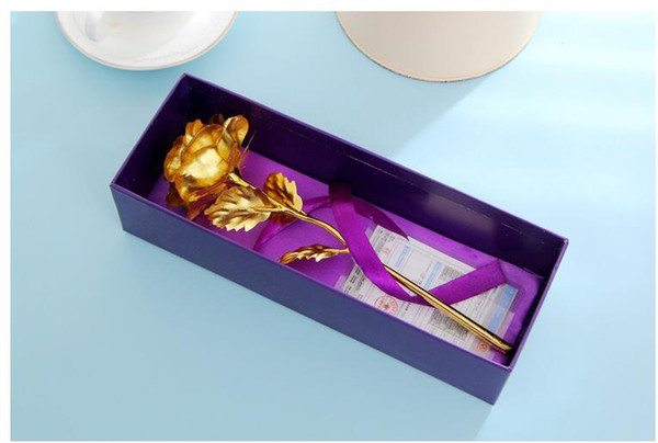 New Beautiful 25CM Valentine's Day 24k Gold Foil Rose Flower Handcrafted Handmade Dipped Long Stem Lovers Wedding Gift Purple Box