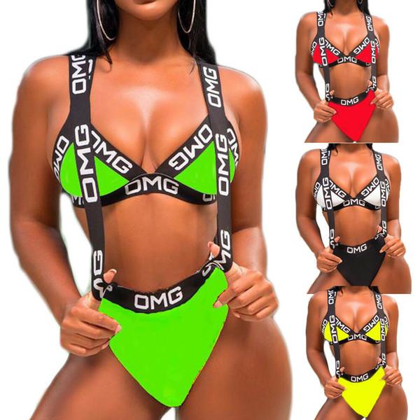 Femmes chaudes maillot de bain Push Up rembourré soutien-gorge Bikini 2 Pcs lettre maillot de bain maillot de bain dames sexy maillot de bain Monokini