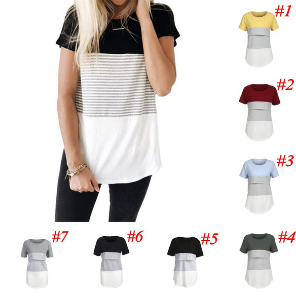 Maternity Striped Tees Nursing Tops Short Long Sleeve Round Neck Blouses Shirts Breastfeeding T Shirt Clothes Casual Maternity Clothings