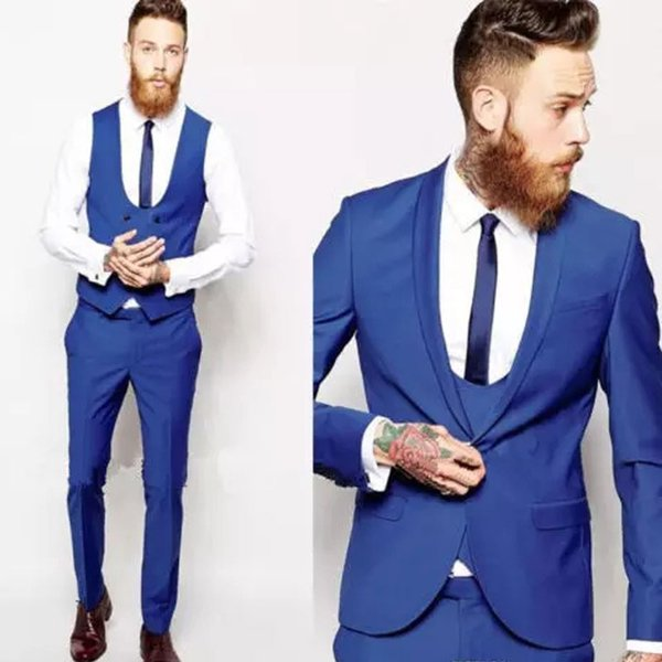 Best Selling Royal Blue Men Suits Slim Fit Wedding Suits For Men With Jacket Vest And Pants Groom Tuxedos Shawl Lapel Blazers