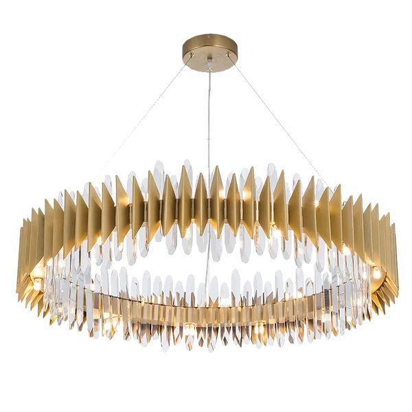 Yeni Tasarım Kristal Lamba Avize Modern Yüzük Altın LED Avizeler Aydınlatma Armatürü Oturma Odası Altın Cristal Cilası AC85-265V