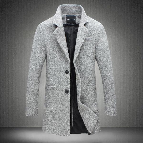 2017 New langer Graben-Mantel-Männer Windschutz Winter Fashion Herren Mantel Wolle Qualität Thick Warm Trenchcoat Male Jacken Grau 5XL