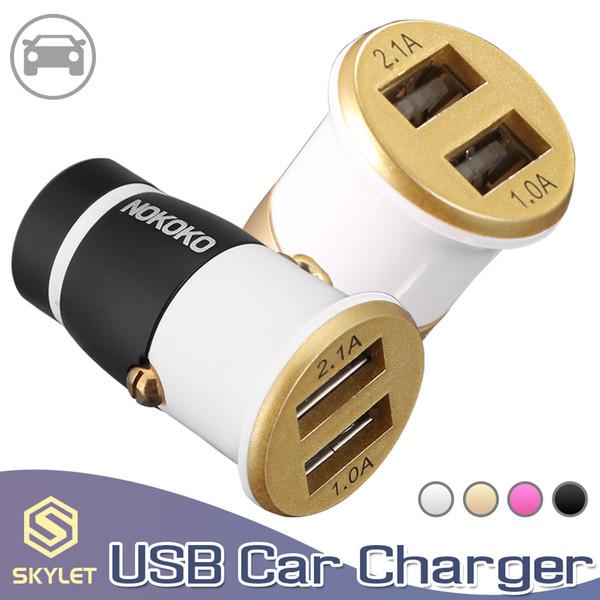 SKYLET Dual USB Carregador de Carro 5 V 4.4A Adaptador de Carregamento Rápido Veículo de Metal carregador para iphone samsung huawei lg smartphones telefones inteligentes tablet pc
