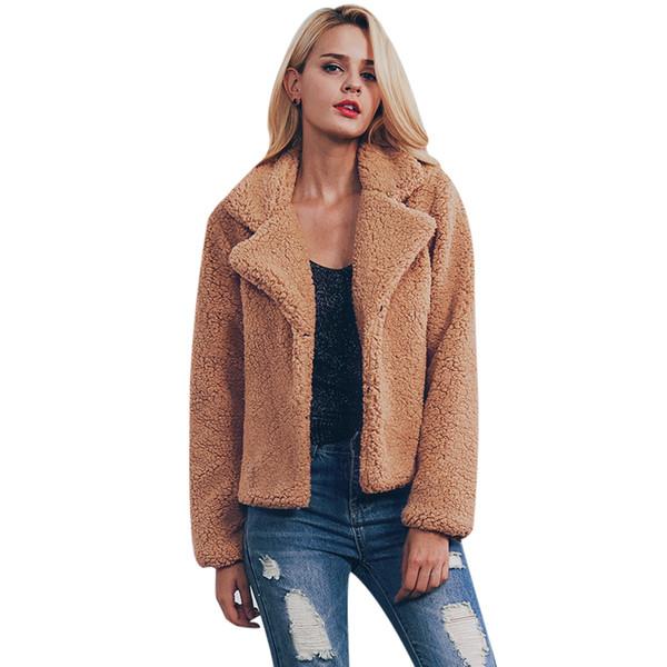 NEW Faux Fur Plus Size Jacket Women Winter Warm Solid Hairy Coat Long Sleeve Lapel Outerwear 2017 Female Overcoat Casaco Pele