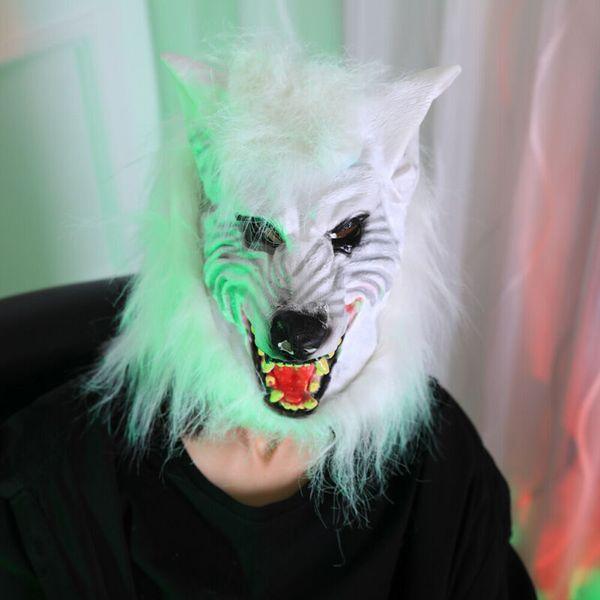 Hot Scary Halloween Maschera Copricapo maschere mascherata della testa del lupo in lattice animali Maschera luminosa Horror Carnival Superhero Horror partito