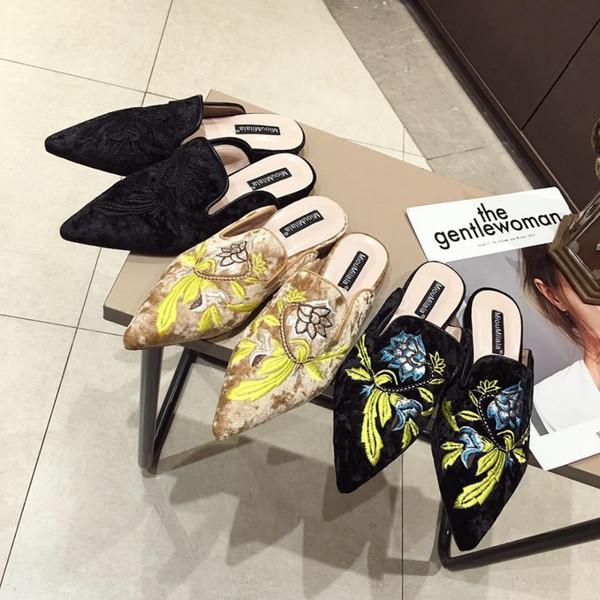 Mujeres Velvet Mules bordado de la flor diapositivas suaves Slip Ons talón plano zapatos casuales TAMAÑO 34-41