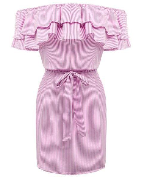 2019 New Women Dresses cheap cloth Striped Sashes Summer Dress Ruffle Collar 2019 Bandage Sundress Casual Sexy Vestidos