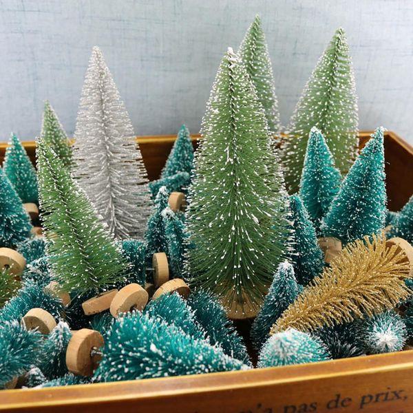 12pcs/pack 4.5cm Mini Christmas Tree Snow Frost Small Pine Tree Sisal Fiber Craft DIY Xmas Party Home Decoration Ornaments
