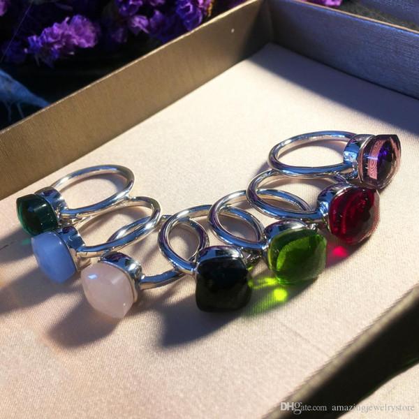 Top design en laiton paris design anneau avec la nature jade et zircon décorer anneau unique et timbre bracelet de charme logo pour les femmes et la mère je