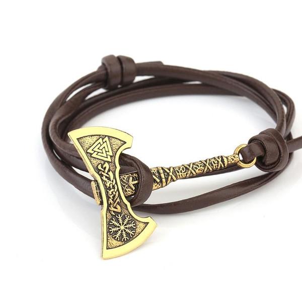 Doble cabeza Hacha metal colgante brazaletes Odin símbolo Viking estilo diseñador pulsera para hombre pulseras decorativas