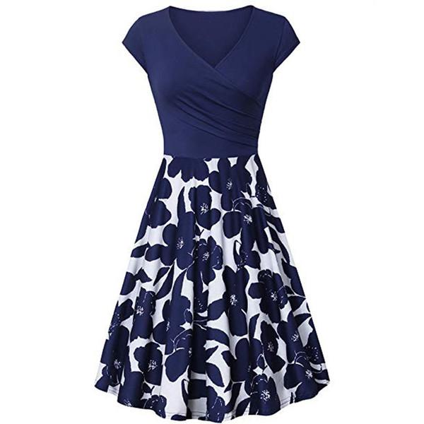 summer dress women elegant Short Sleeve Cross Dresses Vintage Elegant Flared A-Line blue dresses party night dress vestidos NEW