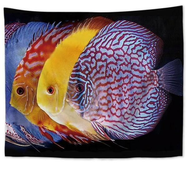 US SELLER - гобелен для спальни с акцентом на тропических рыбах