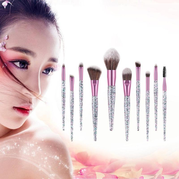10pcs Pinceles de maquillaje de cristal Set Eye Shadow Concealer Eyelash Foundation Face Brush with Glitter Sequins Handle Makeup Brush Kit