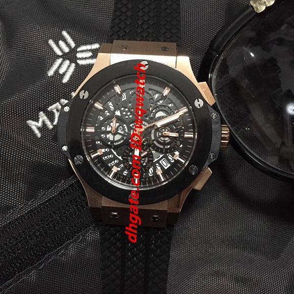 2019 moda de lujo BIG BANG reloj de caballero negro estable VK cronógrafo cráneo zafiro mesa plegable hebilla caja de acero 316L correa de caucho marca