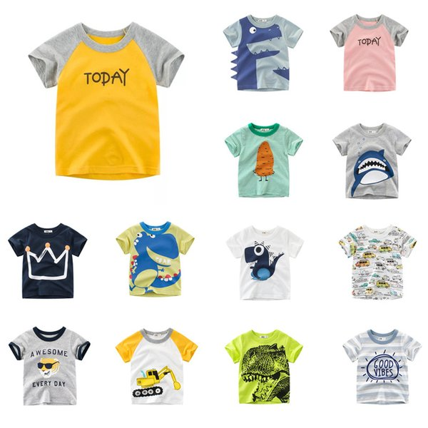 Baby Designer Clothes Tee Summer Infant Cotton Striped Children Boys Girls Tee Cartoon Crocodile Shark Girls Short Sleeve Letters T-shirts
