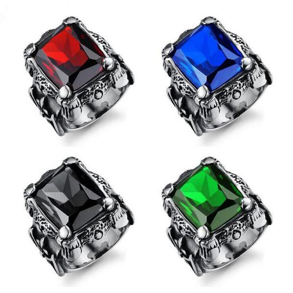 Anéis de homens de aço de titânio de luxo - vintage imitação gemstone anel de noivado designer de jóias legal - melhor presente para os homens (tamanho dos EUA 7-12)