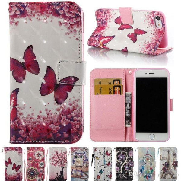 E85 Bling Diamonds 8 Colorful Series Painting PU Leather Flip Wallet Cover Card Holder Protection Mobile Phone Case For iPhone 7 7Plus 6