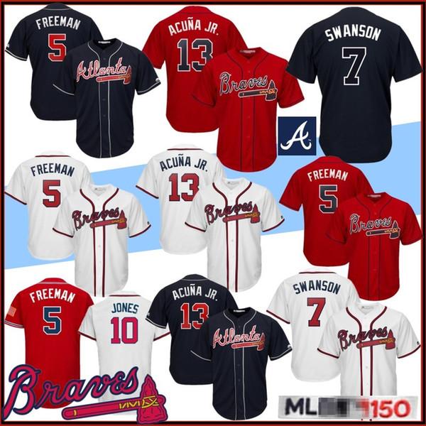 13 Ronald Acuna Jr Beyzbol Formalar Atlanta 5 Freddie Freeman 10 Chipper Jones Braves 150. Yıl 44 Hank Aaron 3 Murphy Dikişli