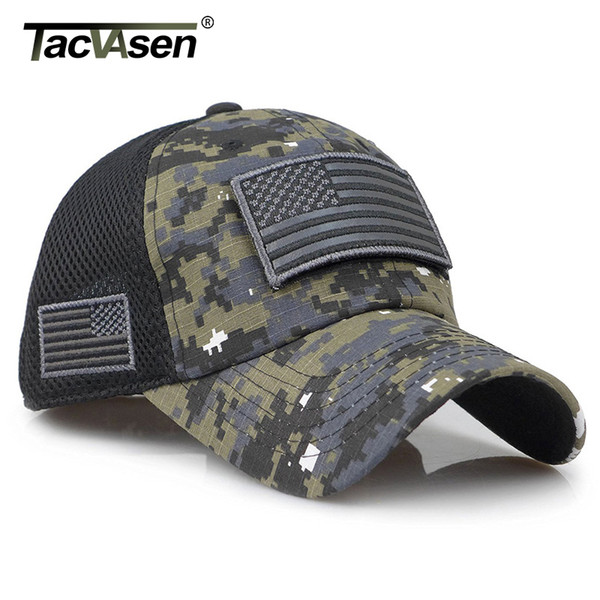 TACVASEN Tactical Camouflage Baseball Caps Men Summer Mesh Army Caps Constructed Trucker Cap Hats With USA Flag Patches