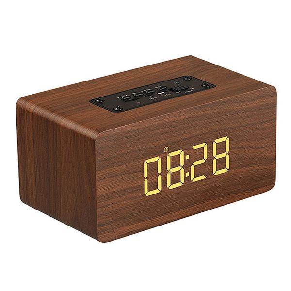 Digital Alarm Clock Bluetooth Speaker Wireless Handfree Wooden Speaker with Microphone Classic Home Speaker HiFi TF FM Soundbar