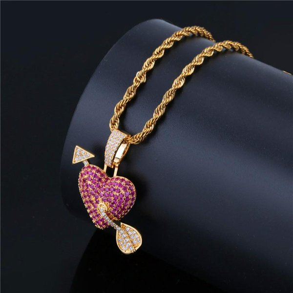 Brand Design Cupid Arrow Heart Pendant Necklaces For Couple Fashion Cartoon Charm Hip Hop Jewelry Ice Out Luxury Gold Necklace