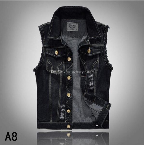2018 lapel denim vest mens distressed denim waistcoat blue sleeveless jeans denim jacket casual vests for men gilet biker homme