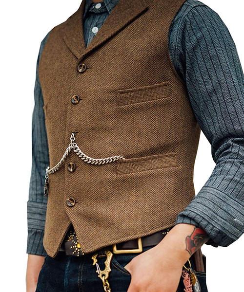 Özel 2019 Resmi Kahverengi Tüvit Yelek Yün Balıksırtı Damat Yelekler Cepler erkek Takım Elbise Yelek Slim Fit Casual Groomsmen Yelek Ucuz satış