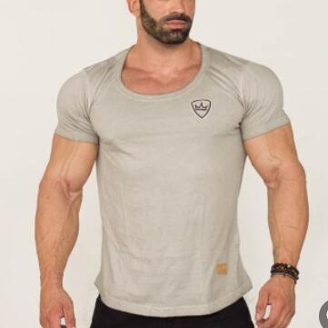 New summer 2019 Gyms Muscle body Design Men cotton short sleeve T shirt Fashion Casual Mens tight-fitting sports T shirt